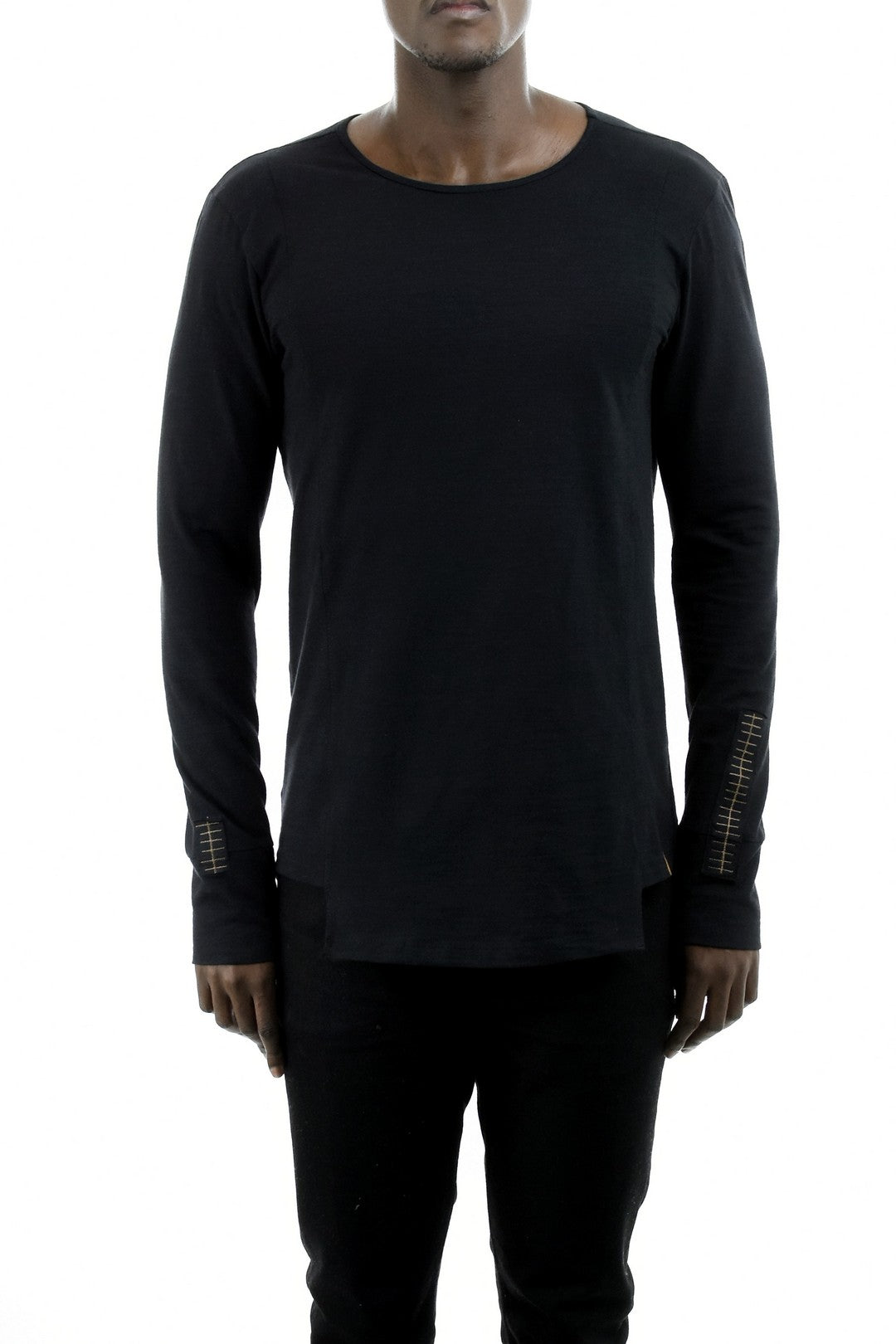 Mens Long Sleeve T-Shirt with Embroidery Detail