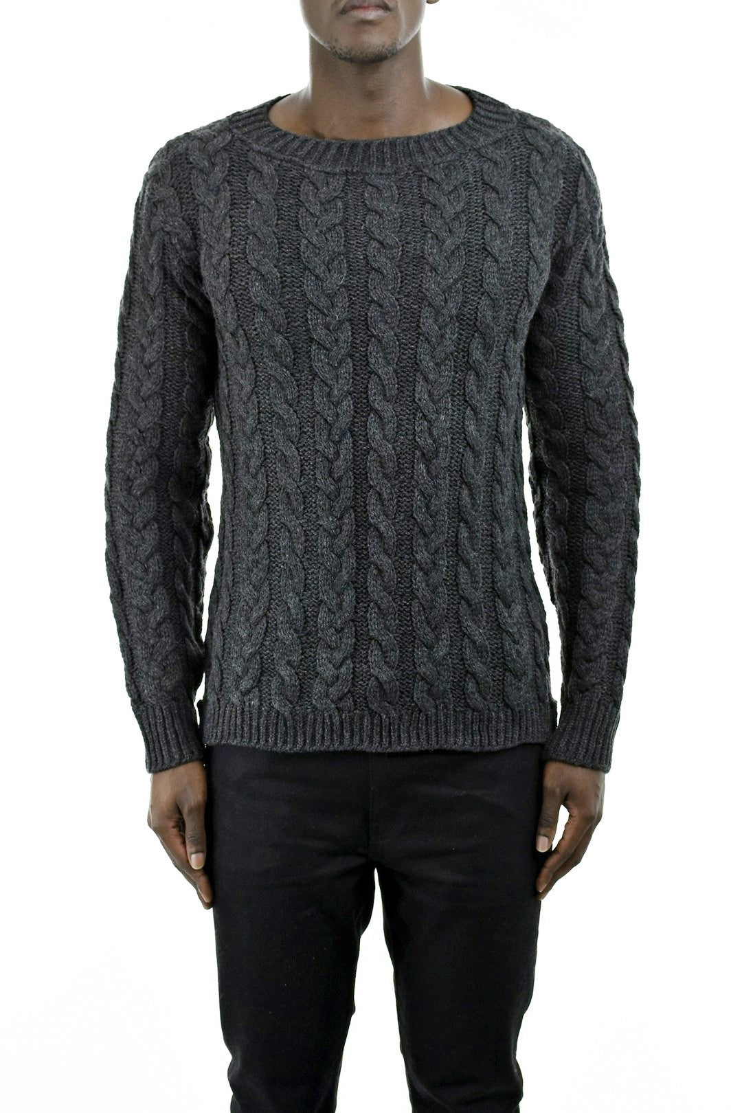 Charcoal Grey Cable Knit Jersey Knitwear ZG5185
