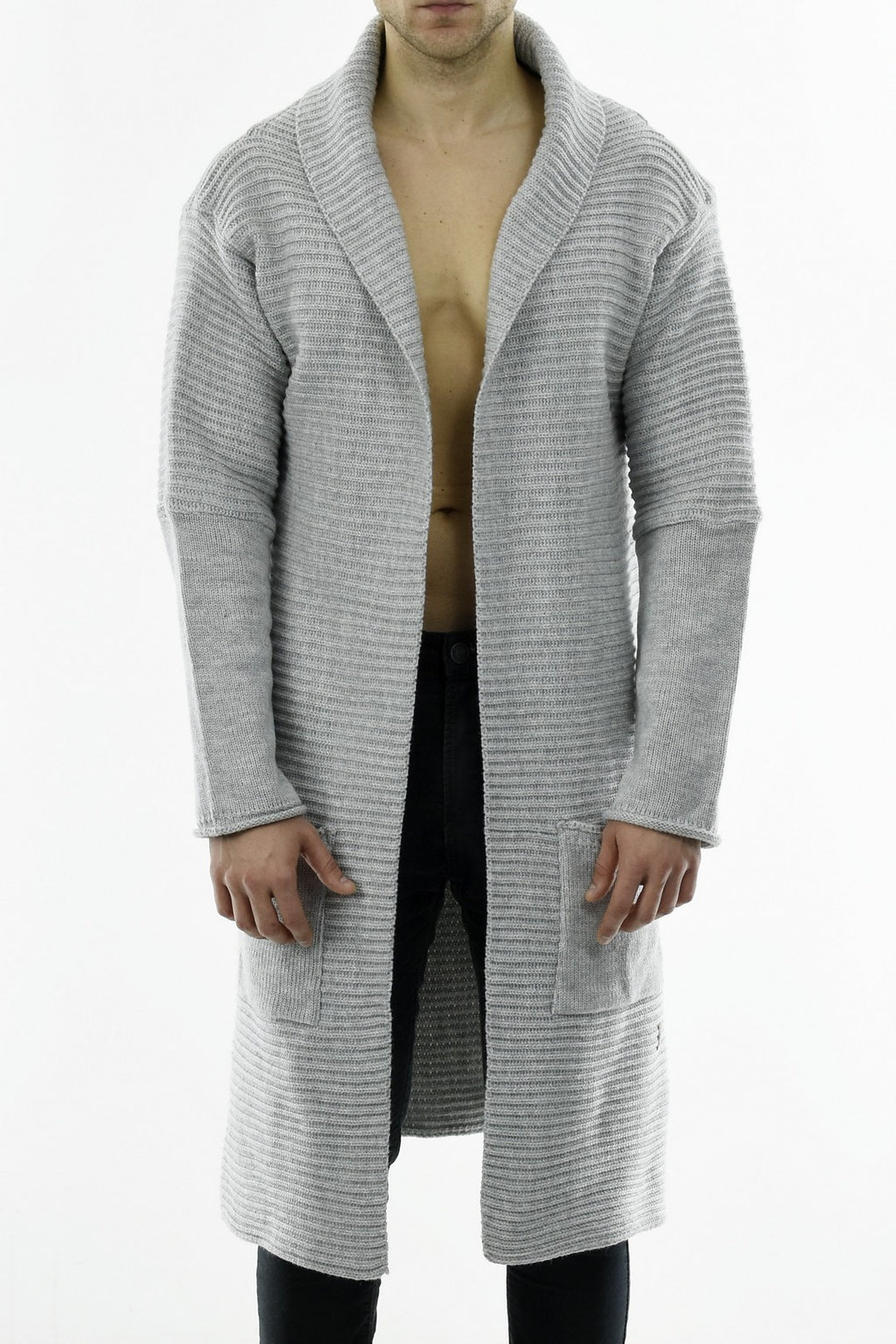 Mens Maxi Cardi in Grey Cotton Melange ZG5222