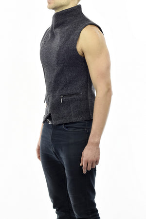 Mens Asymmetric Waistcoat in Light Grey Charcoal Wool Melton ZG5233