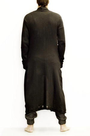 ZG5090 Black Maxi Ladder Effect Knit Coat