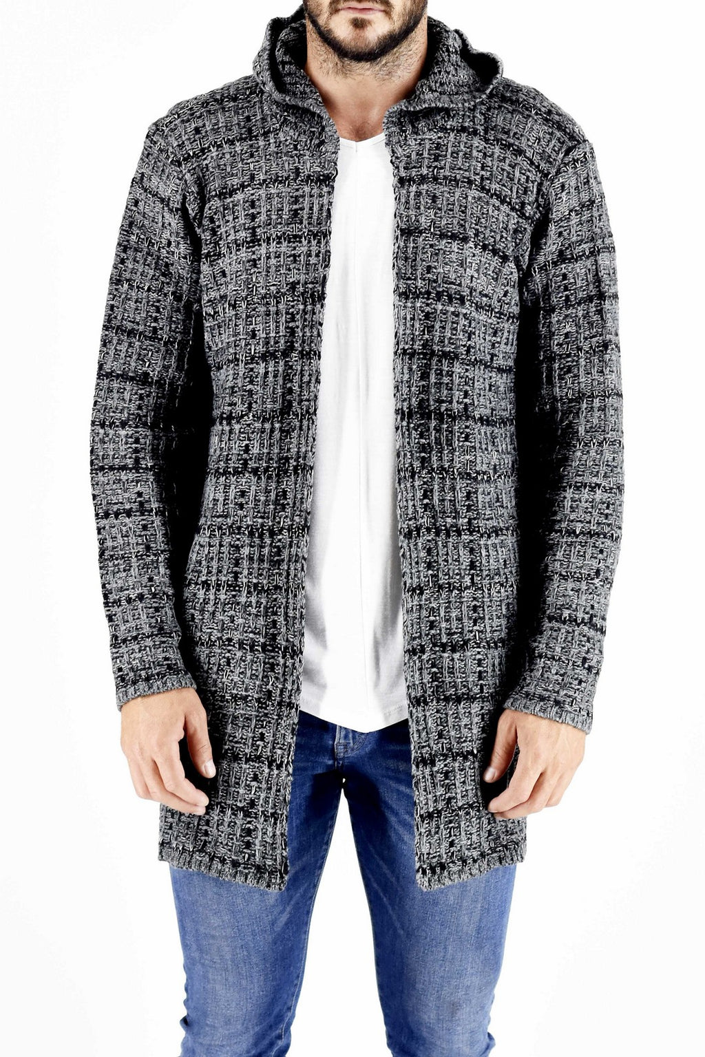 Mens Knitwear Cardigan with Check Design ZG5176