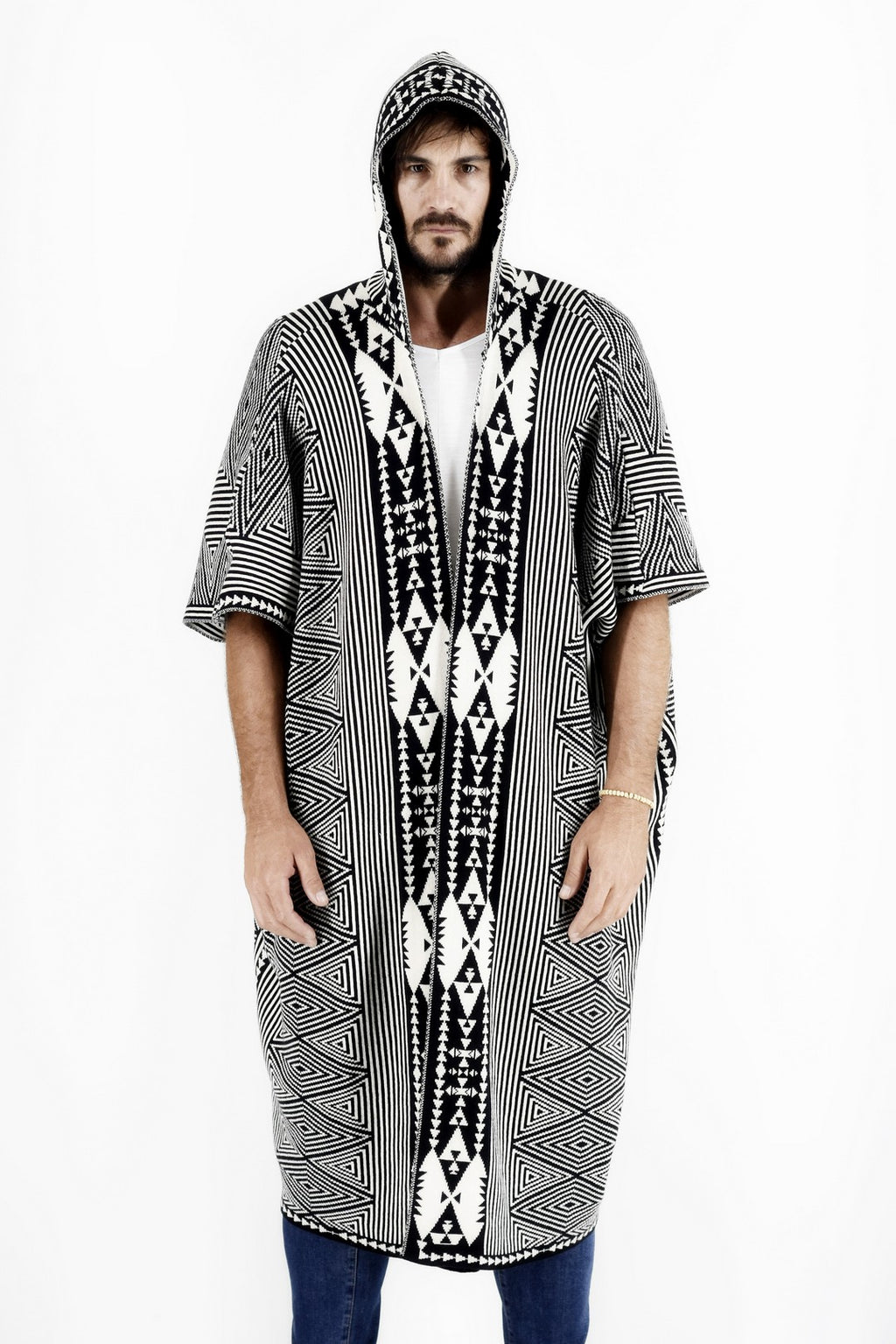 Mens Knitwear Poncho with Ethnic Jacquard Design ZG5177