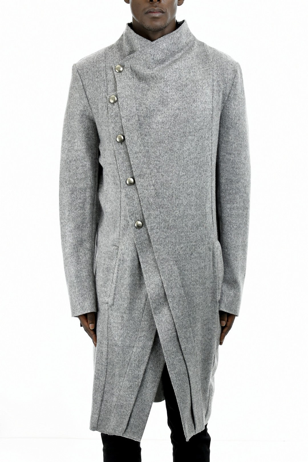 Mens Light Grey Melange Asymmetric Wool Coat