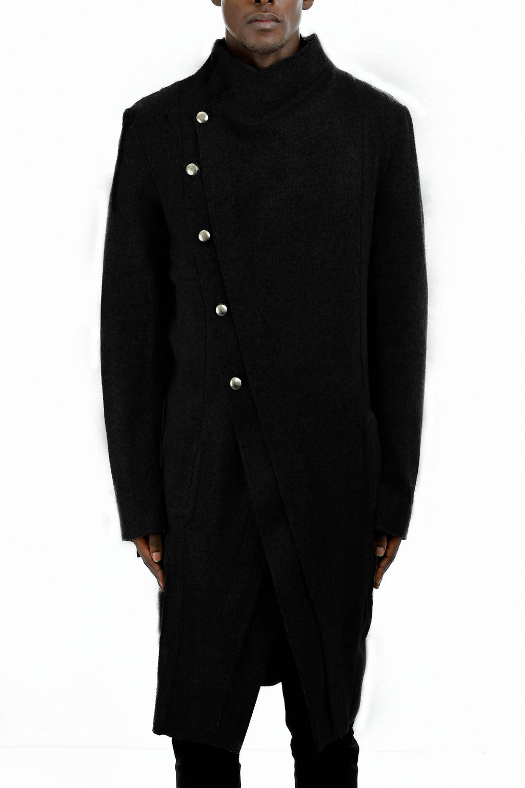 Mens Black Asymmetric Wool Coat ZG5218