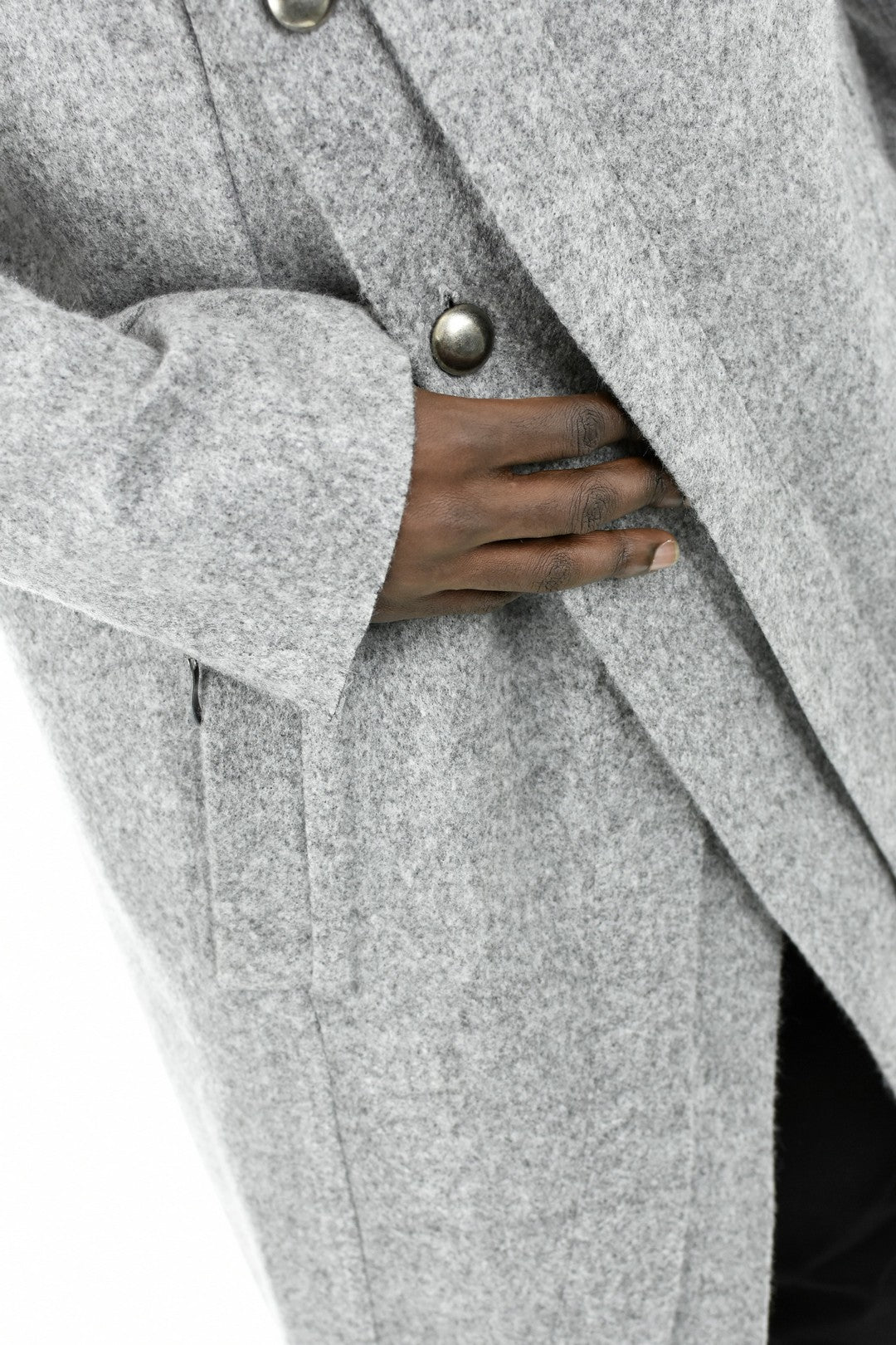 Mens Light Grey Melange Asymmetric Wool Coat ZG5204