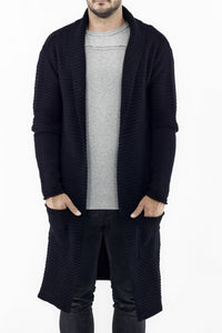 Mens Maxi Cardi in Black Cotton ZG5237