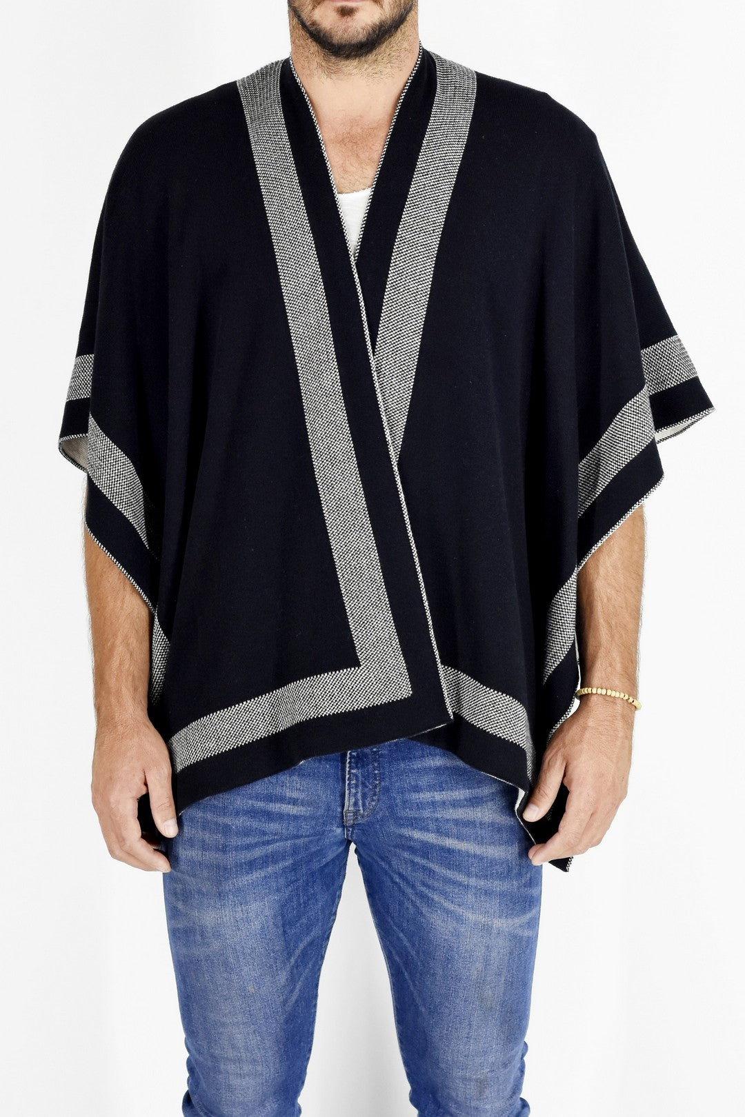Mens Knitwear Reversible Black/Milk Poncho Sweater ZG5193