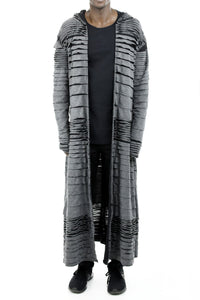 Mens Tiered Maxi Length Hooded Coat ZG5205