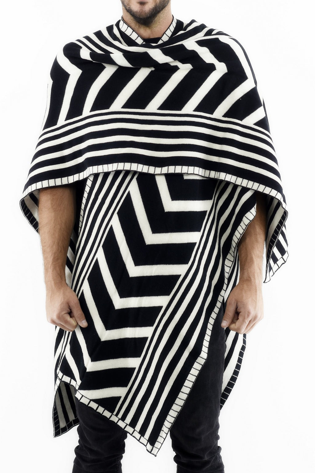 Mens Knitwear Poncho with Ethnic Jacquard Design ZG5238