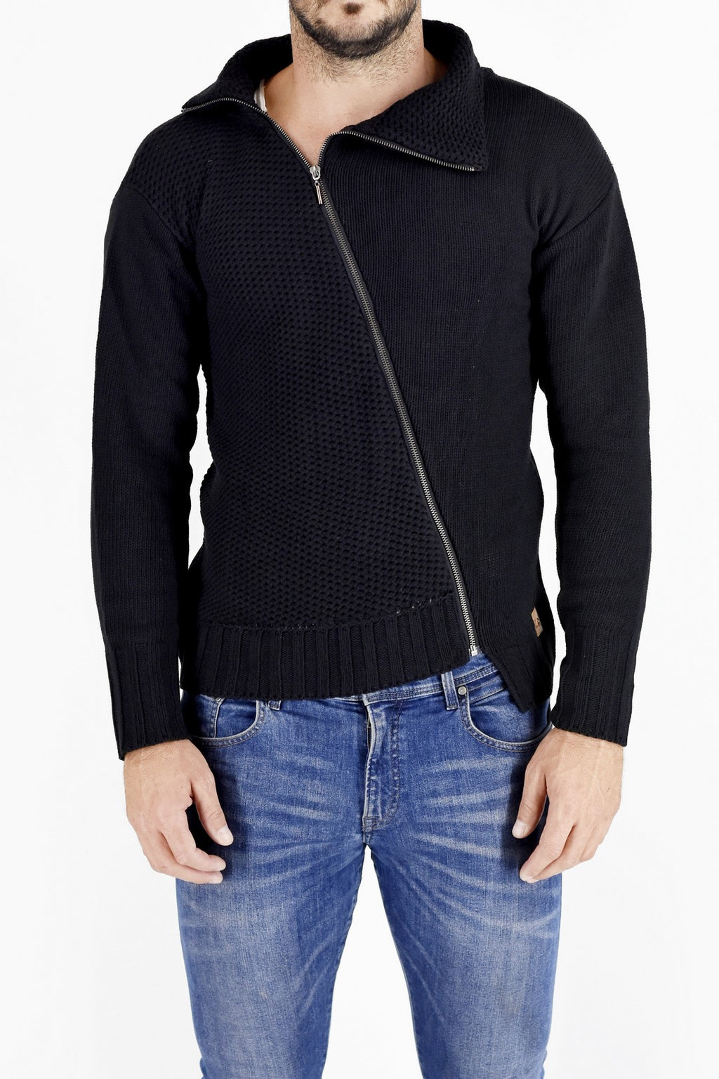 Mens Knitwear Black Asymmetric Zip Sweater ZG5196
