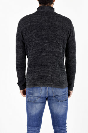 Mens Knitwear Charcoal 1/4 Zip Turtleneck Sweater ZG5199