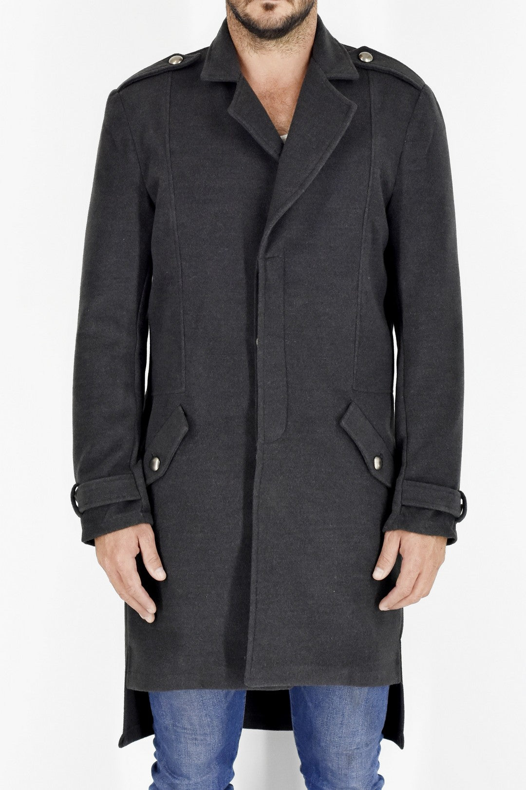 Mens Charcoal Melton Coat ZG5200