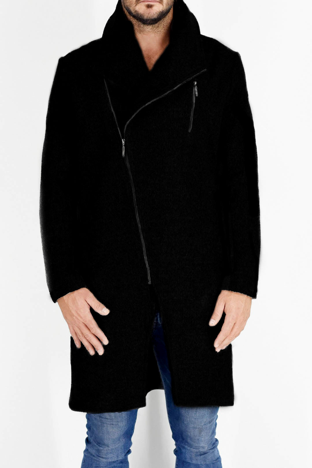 Mens Coat in Black Wool Melton ZG5216