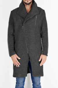 Mens Coat in Charcoal Wool Melton ZG5215