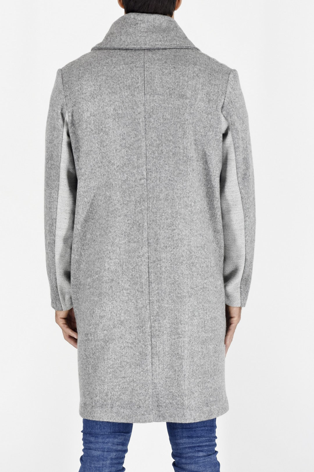 Mens Coat in Light Grey Wool Melton ZG5201