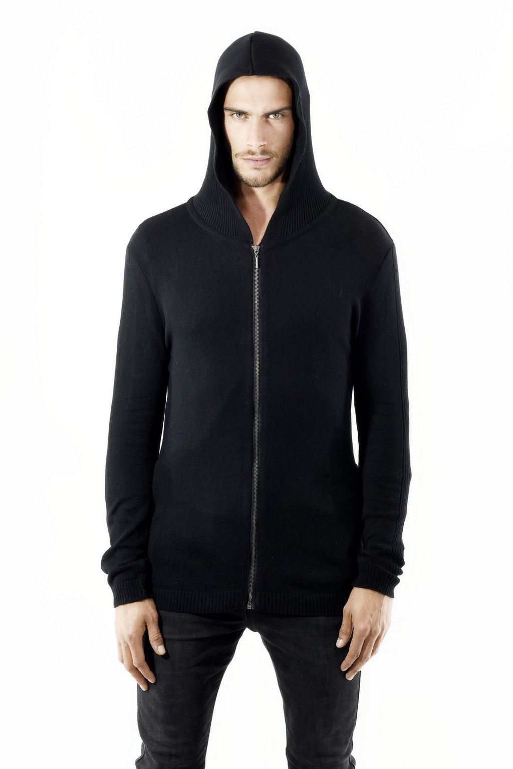 Mens Black Knitwear Hoody Zip Cardigan ZG5276