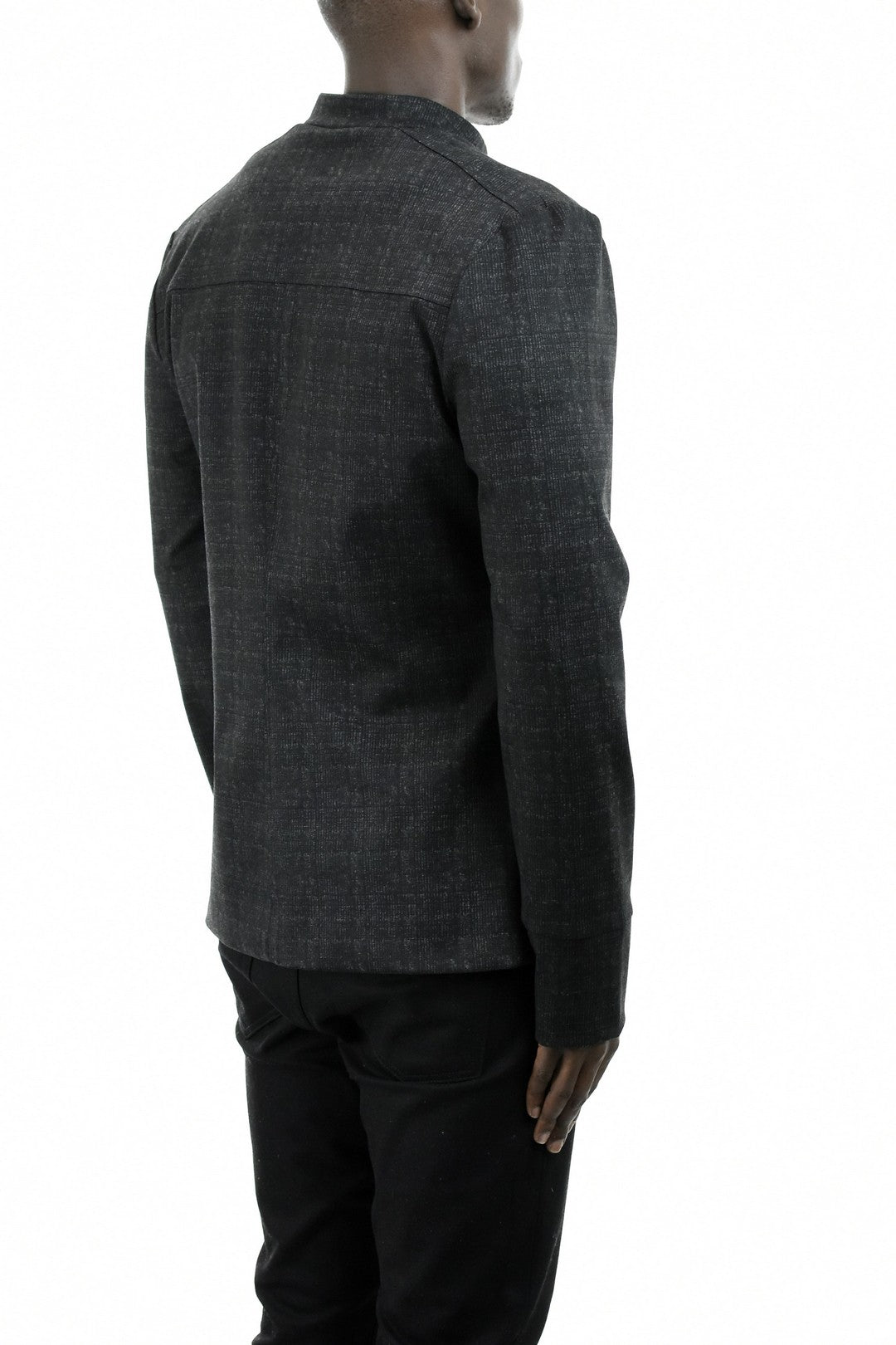 Mens Black and Grey Checked Jacket ZG5206