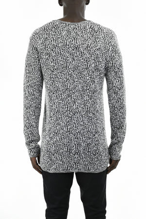 Mens Black and White Jacquard Long Sleeve T-Shirt