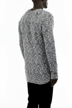 Mens Black and White Jacquard Long Sleeve T-Shirt ZG5207