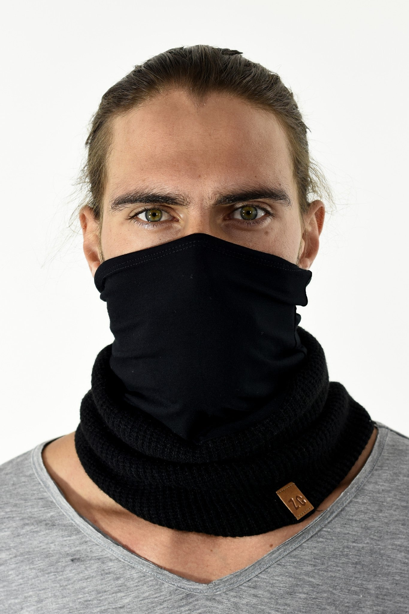 BLACK KNIT AND RIB BUFF ZG5272