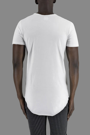 White Raw Edge Neck Cutline T-Shirt ZG5056