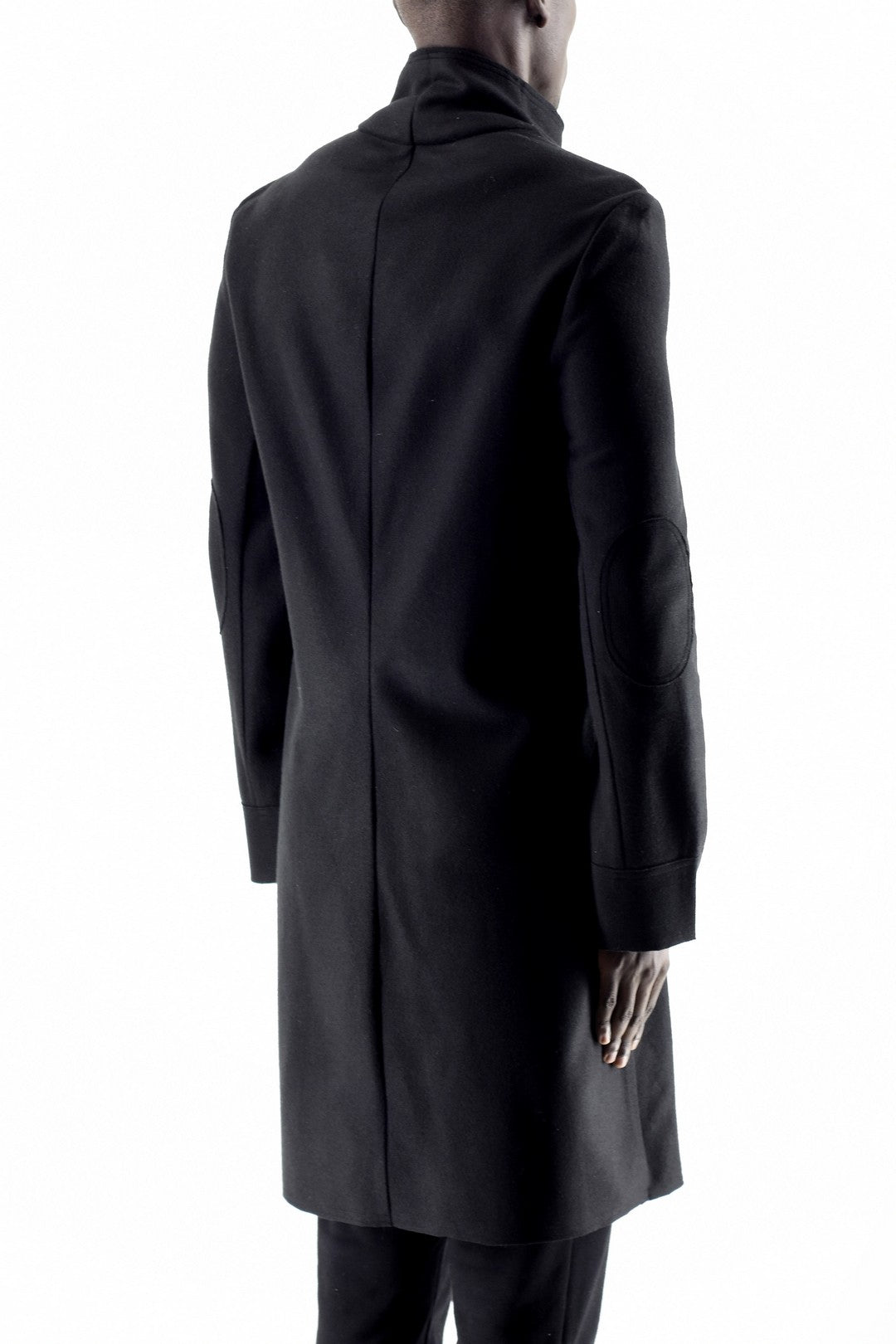 Mens Black Melton Asymetric Zip Coat ZG5098