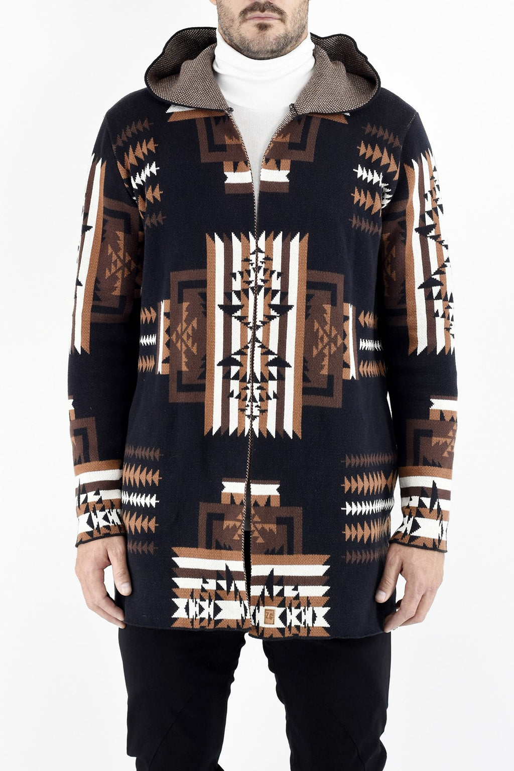 Mens Knitwear Ethnic Hooded Cardigan with Jacquard Design ZG5350