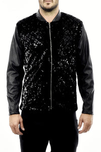 Mens Black Sequin and Pleather Bomber Jacket ZG5256