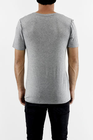 Mens Grey Marl Raw Edge Cutline T ZG5241