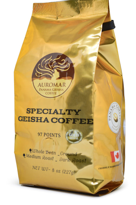 100% Auromar Washed Geisha Coffee Whole Beans 8oz,227g