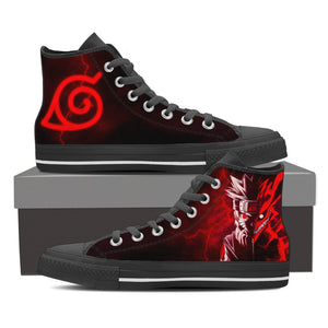 Naruto 2 Faces Leaf Village Logo High Top Shoes