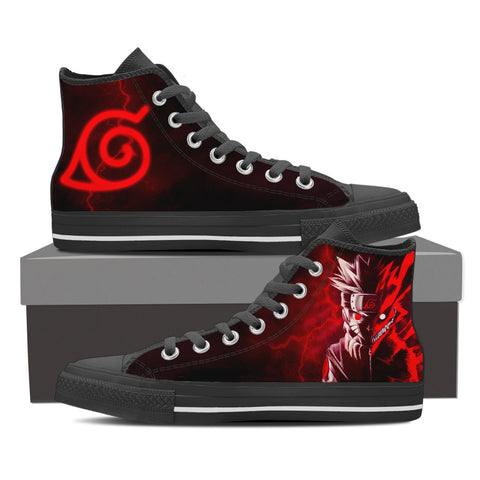 Image of Naruto 2 Faces Leaf Village Logo High Top Shoes