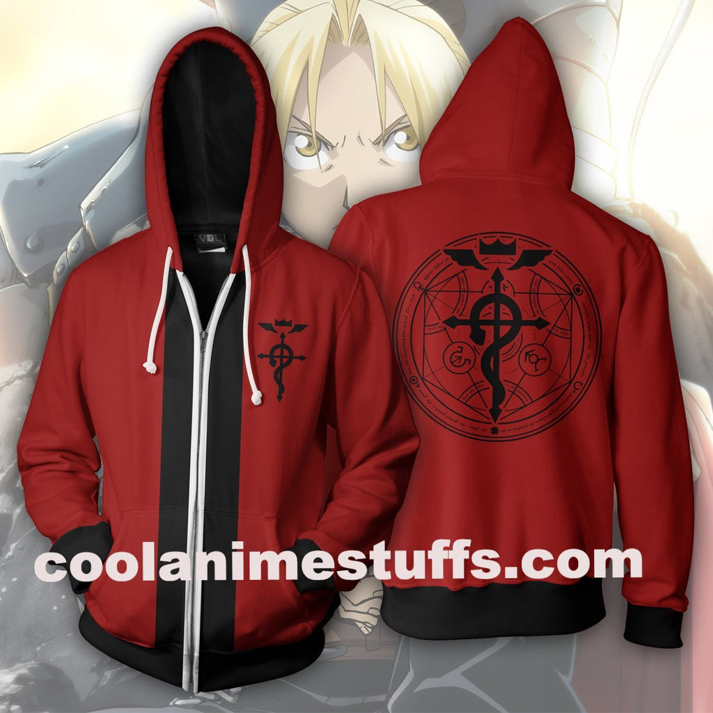 Elric Edward Red Zip Up Hoodie