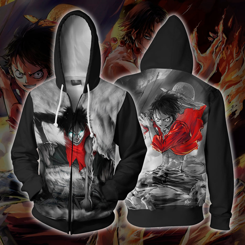 Angry Luffy Zip Up Hoodie