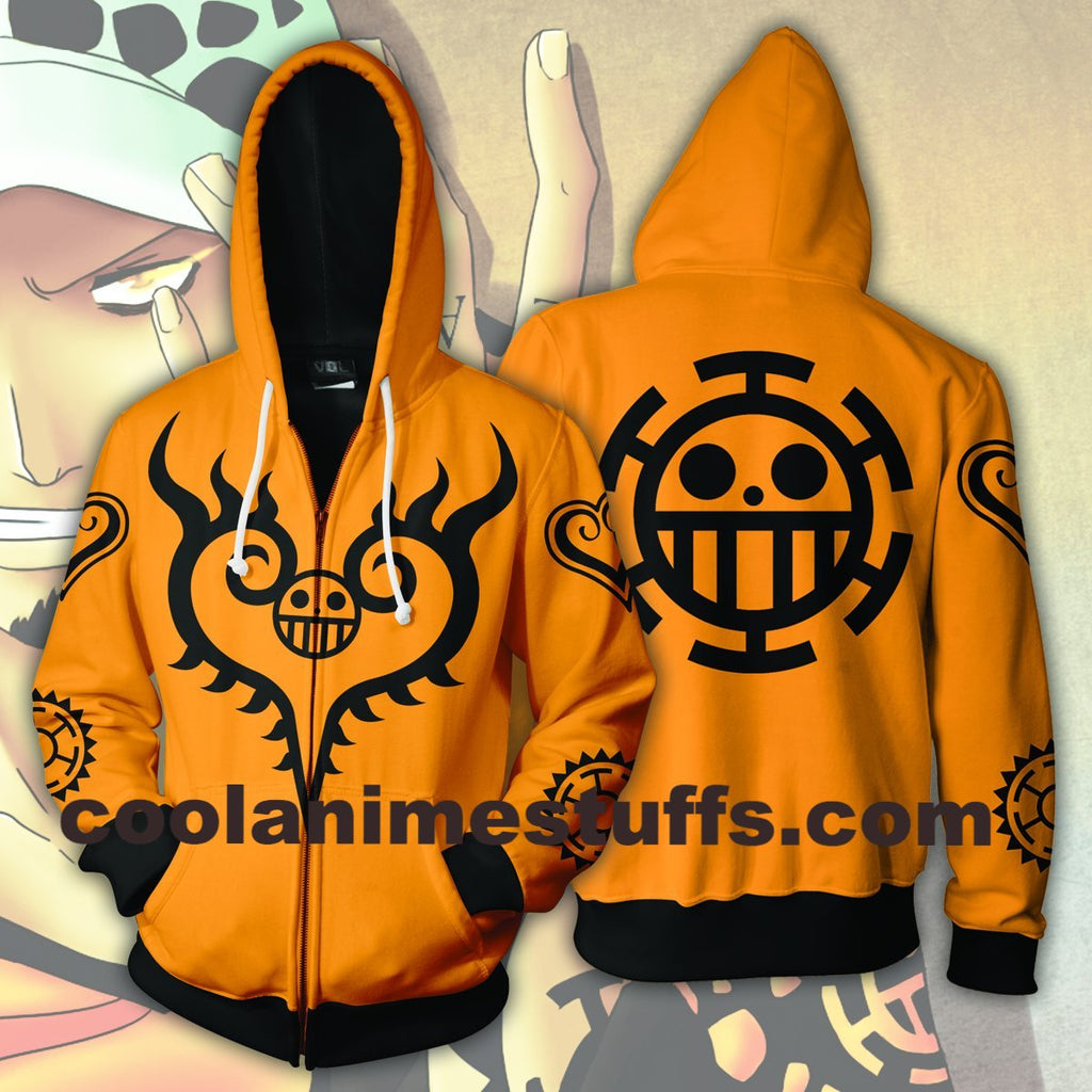 Trafalgar Law Tattoos Zip Up Hoodie