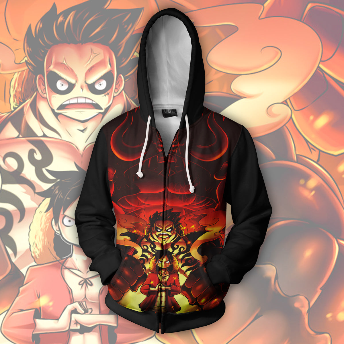 One Piece Luffy 3D Print Zip Up Hoodie
