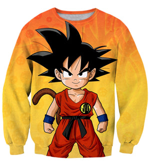 Anime Dragon Ball Cute Kid Goku 3D print Unisex Long Sleeve Sweatshirt