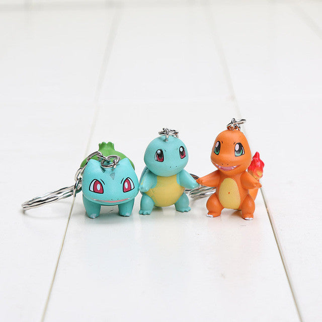 3pcs/lot Pikachu Figures Charmander Bulbasaur Squirtle Charizard Keychain
