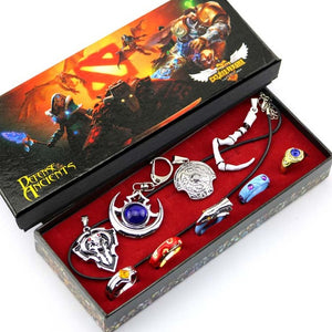 9pcs Anime Game Dota 2 Aghanim's Scepter God Rod Pendant Necklace Ring Keychain Cosplay