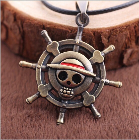 Anime ONE PIECE MONKEY D LUFFY Skull Pendant Necklace Pirate Flag Metal Necklace