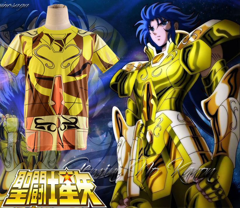 Anime Saint Seiya Gold Saint Saga Gemini Golden Cloth Summer T-shirt