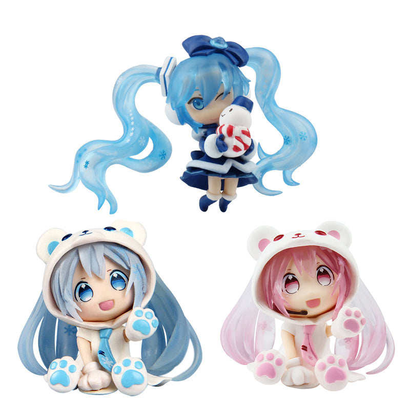 Anime Hatsune Miku Figure White Bear Snow Miku Q Ver. Collectible Brinquedos Kids Toys