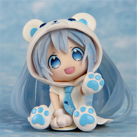 Image of Anime Hatsune Miku Figure White Bear Snow Miku Q Ver. Collectible Brinquedos Kids Toys