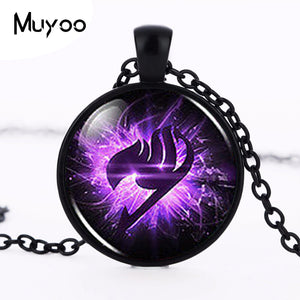 Anime Fairy Tail Guild Marks Purple Wing Pendant Steampunk Necklace