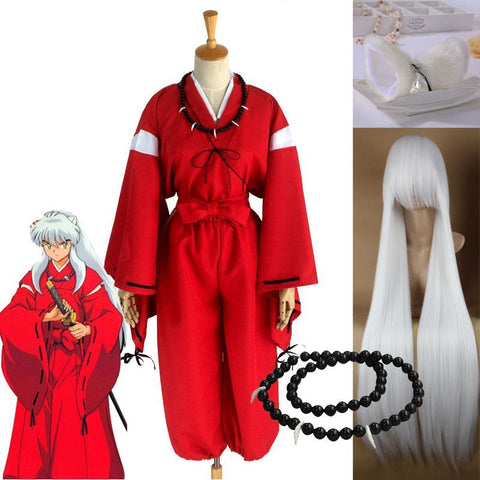 Image of Anime Inuyasha Cosplay Costumes Red Japanese Kimono Men Robe Costume