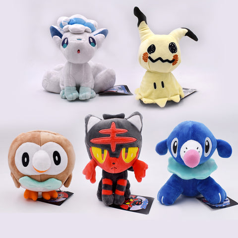 Image of 18-20cm Anime Litten Rowlet Popplio Alola Vulpix Mimikyu Plush Sun Moon Starter Doll For toys