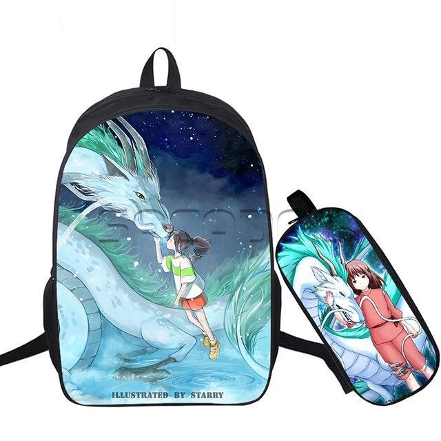 2 Pcs/set Anime Ghibli Spirited Away Travel Bags Chihiro School Bags Backpack