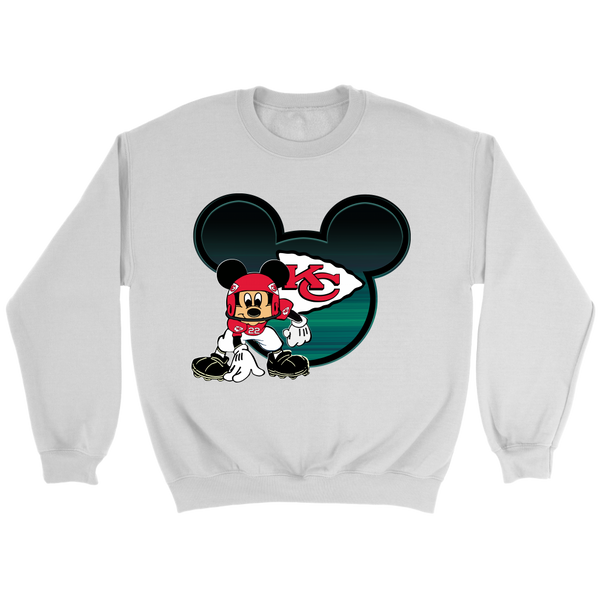 NFL – Kansas City Chiefs Mickey Mouse Football Shirt-T-shirt-Crewneck Sweatshirt-White-S-Itees Global