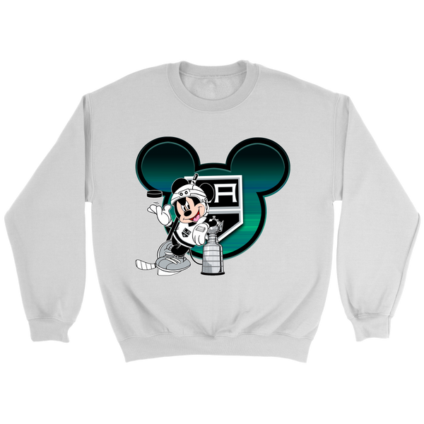 NHL – Los Angeles Kings Mickey Mouse Hockey Disney Sweatshirt-T-shirt-Crewneck Sweatshirt-White-S-Itees Global